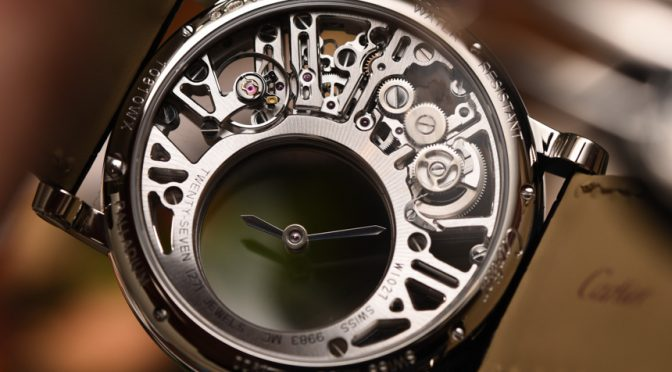 Cartier Rotonde De Cartier Mysterious Hour Skeleton Leather Strap Copy Watches For Sale