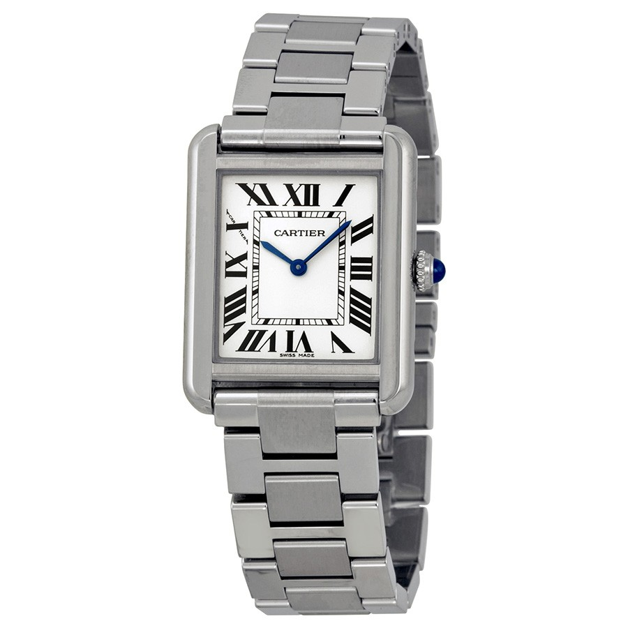 The small size fake Cartier Tank Solo W5200013 watches are made from stainless steel.