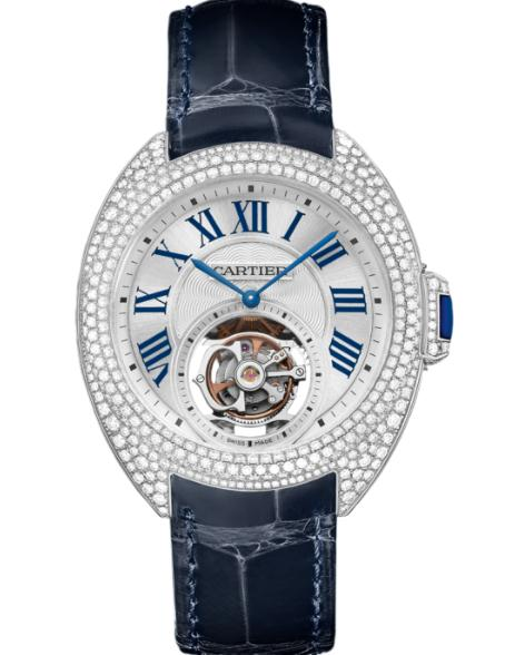 The luxury fake Clé De Cartier HPI00933 watches are made from white gold and diamonds.
