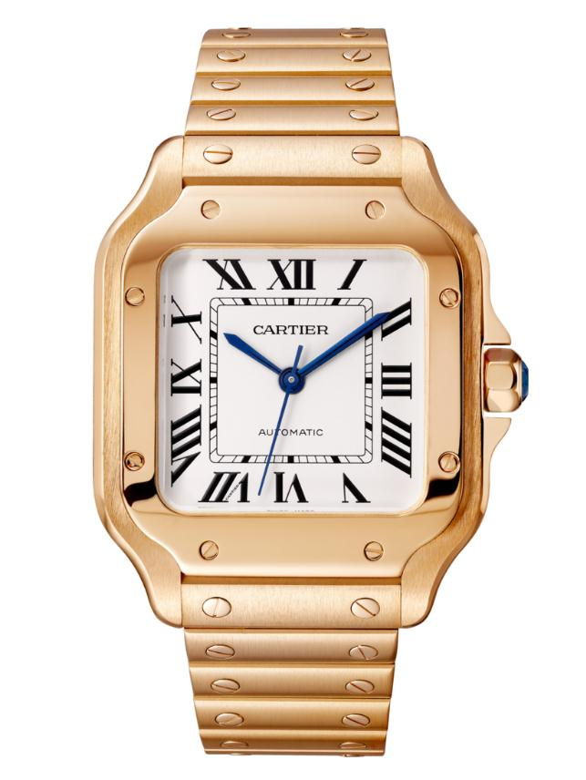 The luxury copy Santos De CartierWGSA0008 watches have silver-plated dials.
