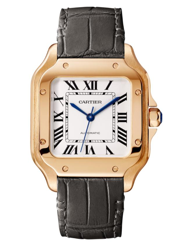 The well-designed fake Santos De Cartier WGSA0008 watches have additional grey leather straps.