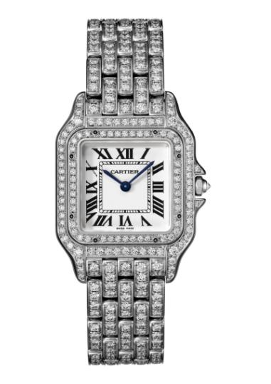 The luxury fake Panthère De Cartier HPI01130 watches are made from white gold and diamonds.