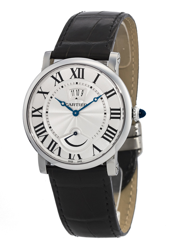 The comfortable fake Rotonde De Cartier W1556369 watches have black alligator leather straps.