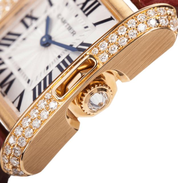 The luxury fake Cartier Tank Anglaise WT100013 watches are made from 18k rose gold and diamonds.