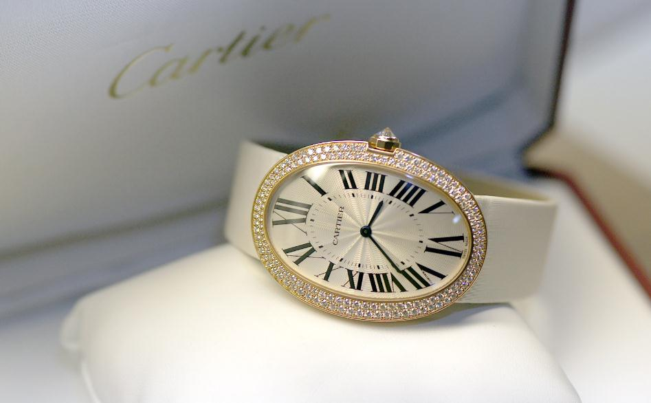 18k Red Gold Fake Cartier Baignoire Watches With Diamonds Swiss