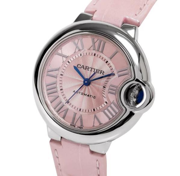 The 33 mm copy Ballon Bleu De Cartier WSBB0002 watches have pink dials.