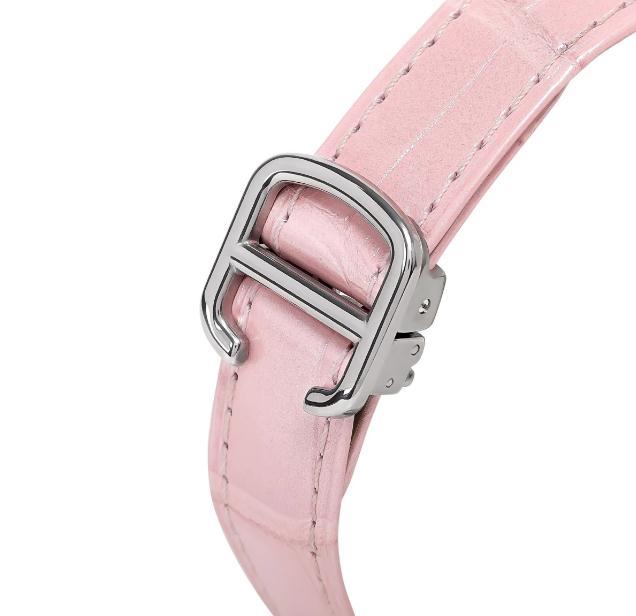 The special fake Ballon Bleu De Cartier WSBB0002 watches have pink leather straps.