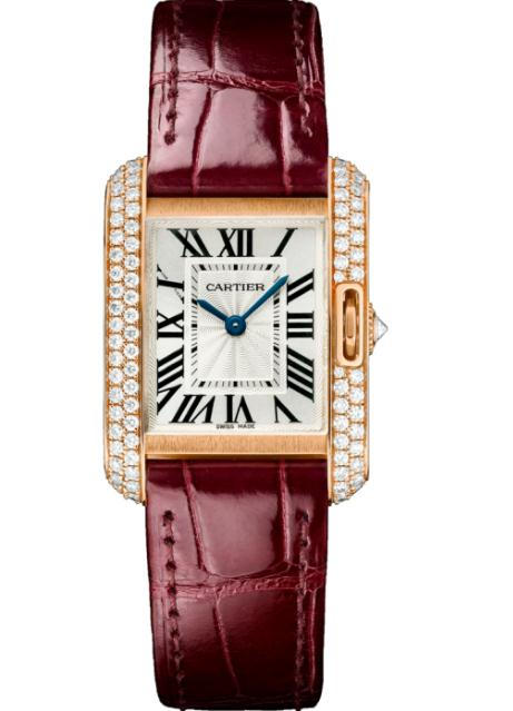 The eye-catching replica Cartier Tank Anglaise WT100013 watches have wine red alligator leather straps.