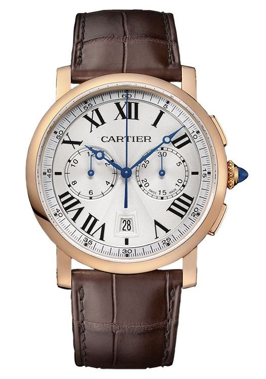 The luxury fake Rotonde De Cartier W1556238 watches are made from 18k rose gold.