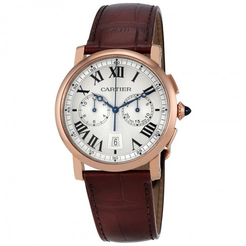 The well-designed copy Rotonde De Cartier W1556238 watches have brown leather straps.