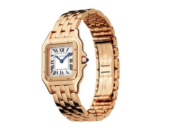 The fine copy Panthère De Cartier WGPN0009 watches have crowns set with blue sapphires.