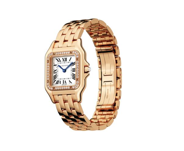 The famous replica Panthère De Cartier WGPN0007 watches have crowns set with white sapphires.