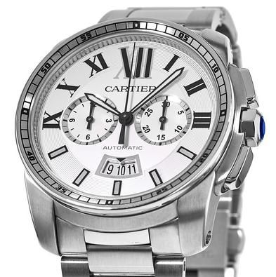 The 42 mm copy Calibre De Cartier W7100045 watches have silver-plated dials.