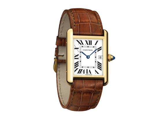 The large size copy Cartier Tank Louis Cartier W1529756 watches have silver-plated dials.