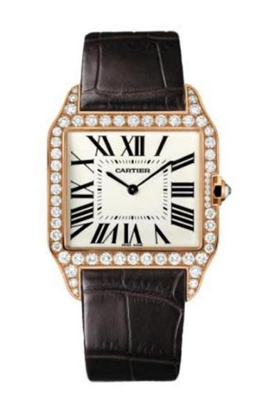 The luxury copy Santos De Cartier WH100751 watches are made from 18k rose gold and diamonds.