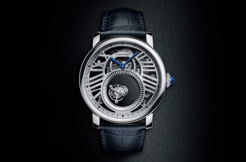 The skeleton dials fake Rotonde De Cartier watches have tourbillons.
