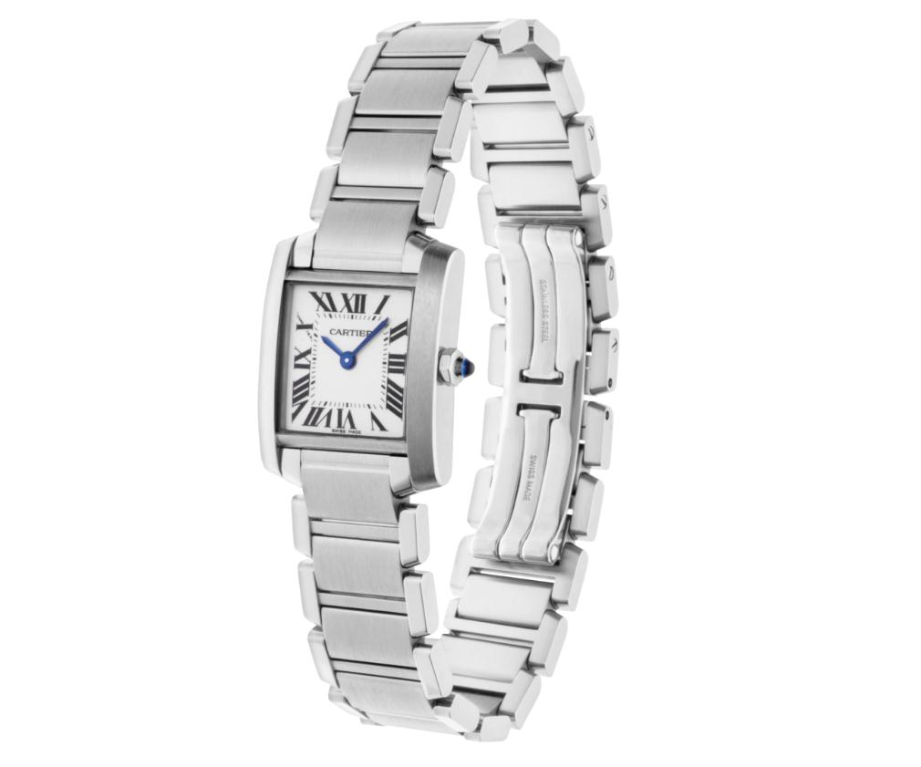 The stainless steel fake copy Cartier Tank Française W51008Q3 watches are designed for females,