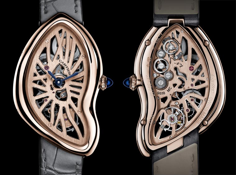 "The luxury replica Cartier Crash ""Mechanical Legends"" watches are made from 18k rose gold."