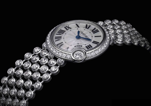 The luxury copy Cartier watches are decorated with diamonds.