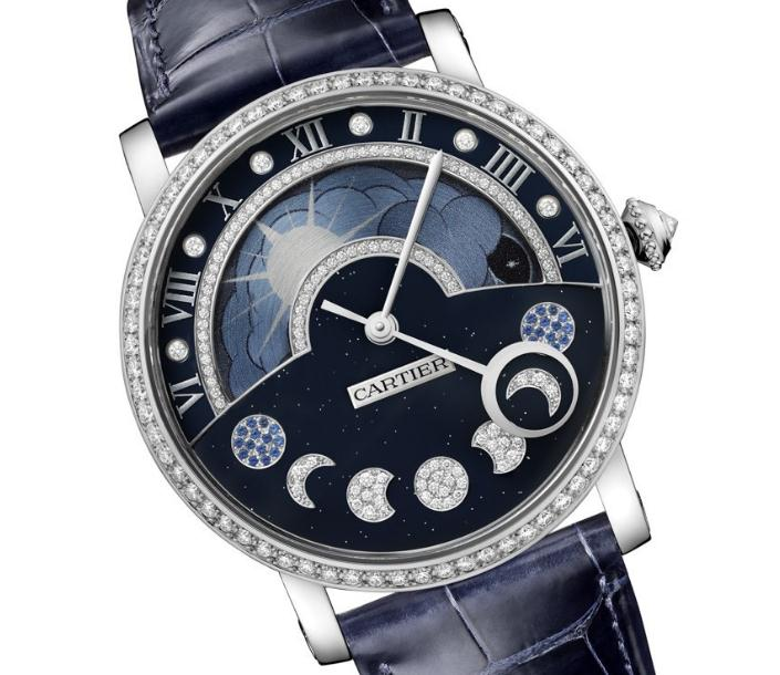 The blue dials fake watches have moon phases.