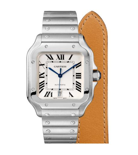 The stainless steel fake watches have additional brown leather straps.