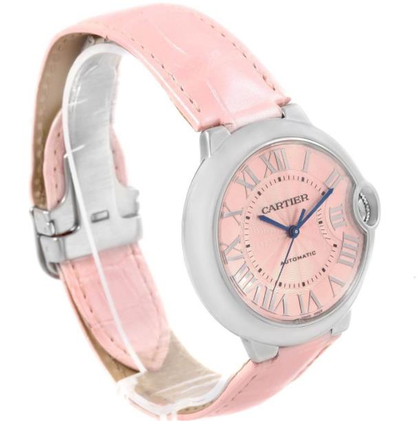 The stainless steel fake watches have pink straps.