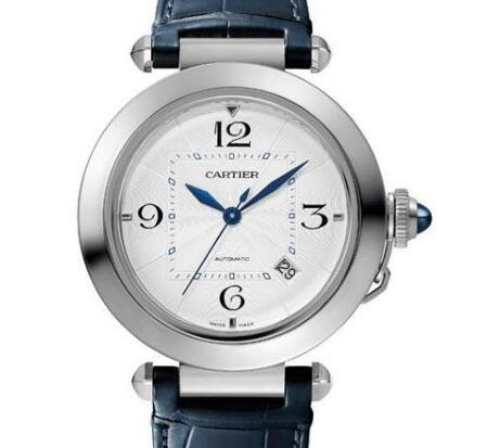 The blue hands are striking on the silver dial.