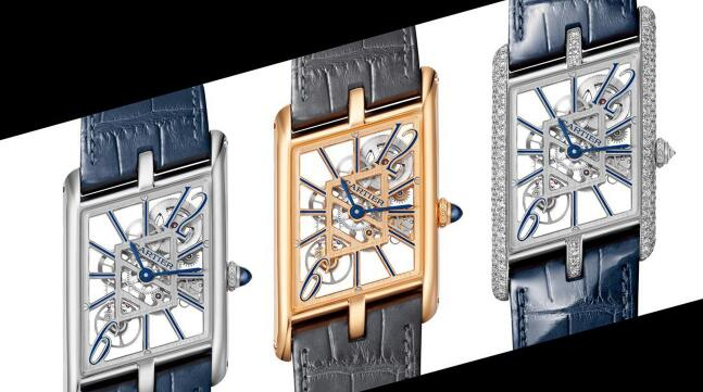 The skeleton dials make the fake Cartier more exquisite.