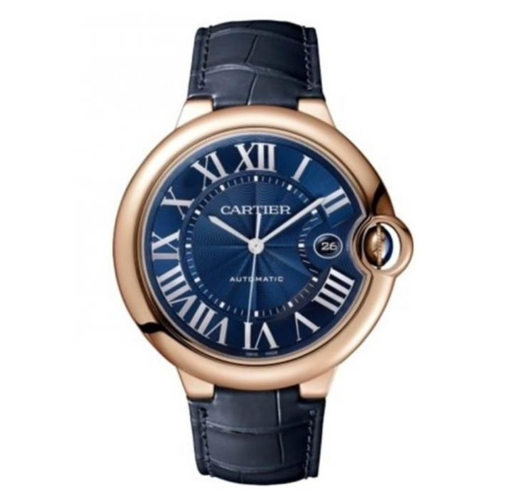 The 18k rose gold fake watch has blue dial.