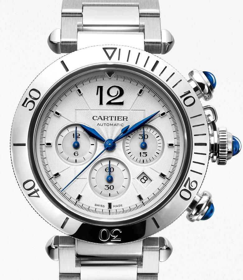 Swiss replica watches ensure blue colored hands on the white dials.